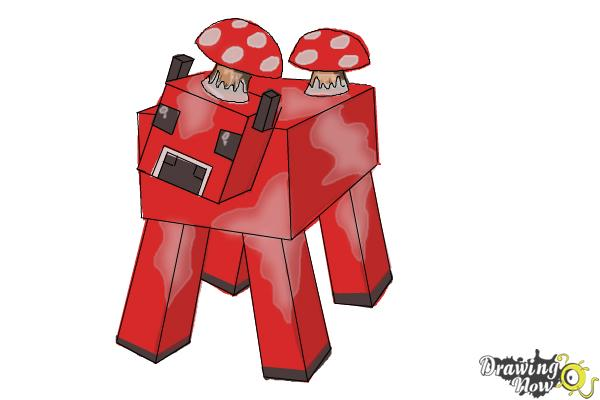 How to Draw a Mooshroom from Minecraft - Step 9