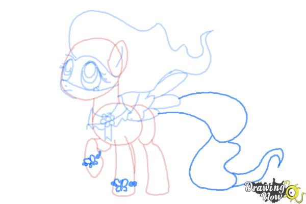 How to Draw Fluttershy, Saddle Rager from Power Ponies - Step 9