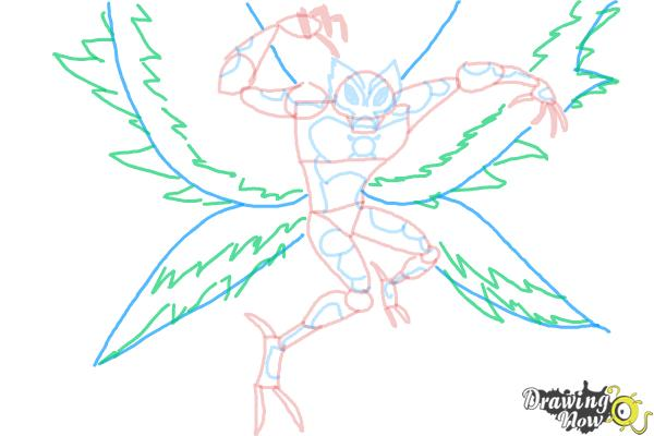 How to Draw Ultimate Big Chill from Ben 10 - Step 9
