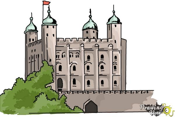 How to Draw The Tower Of London - Step 10