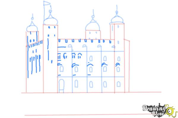 How to Draw The Tower Of London - Step 7