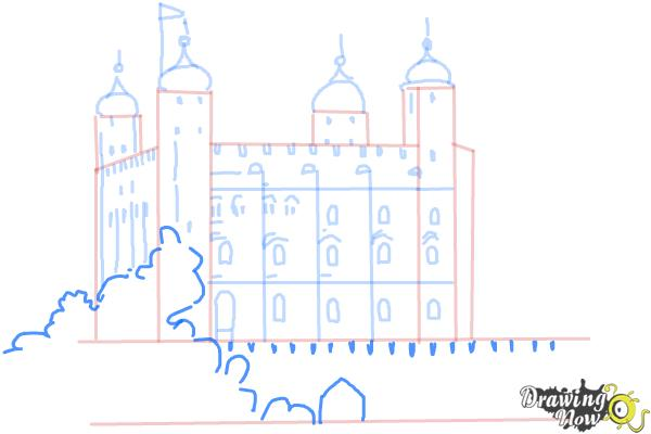 How to Draw The Tower Of London - Step 8