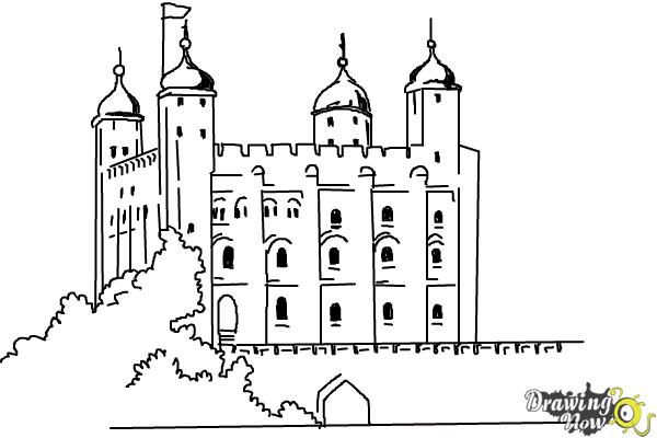 How to Draw The Tower Of London - Step 9