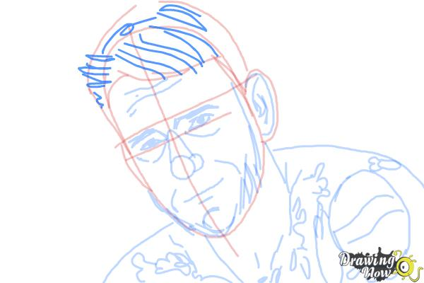 How to Draw Cm Punk - Step 7