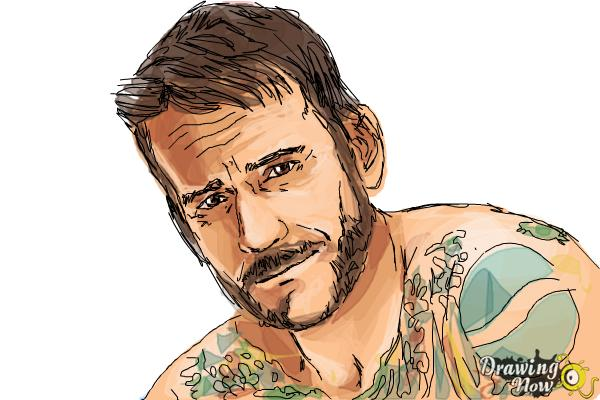 How to Draw Cm Punk - Step 9