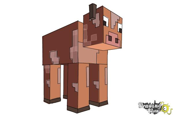 How to Draw a Cow from Minecraft - Step 10