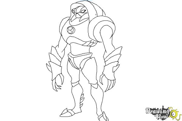 How to Draw Waterhazard from Ben 10 Omniverse - Step 9