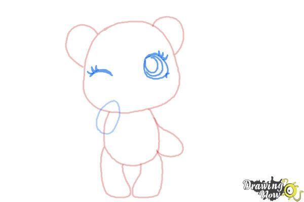 How to Draw a Chibi Valentine Bear - Step 4