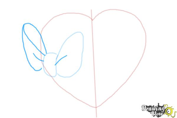 How to Draw a Heart With a Bow - Step 3