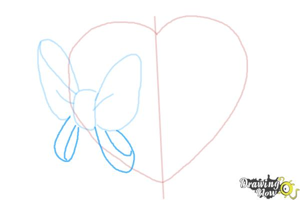 How to Draw a Heart With a Bow - Step 4