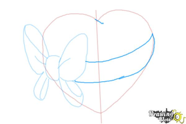 How to Draw a Heart With a Bow - Step 5