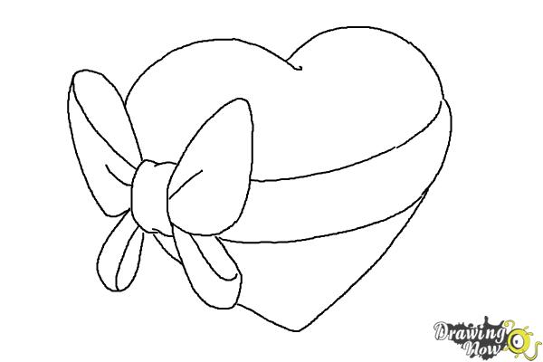How to Draw a Heart With a Bow - Step 6