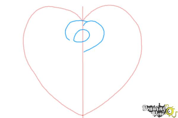 How to Draw a Heart Rose - Step 2