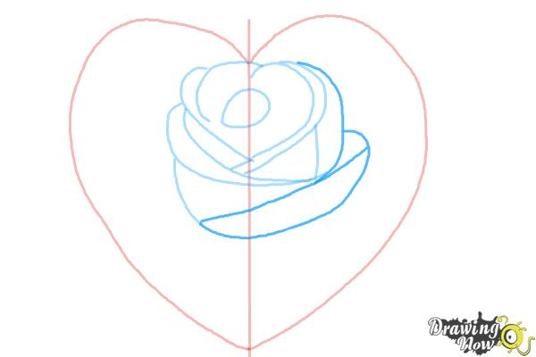 How to Draw a Heart Rose - Step 5