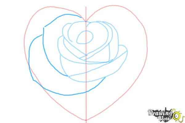 How to Draw a Heart Rose - Step 6