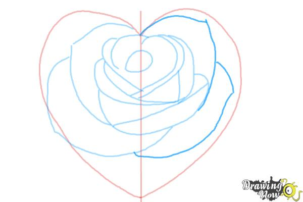 How to Draw a Heart Rose - Step 7