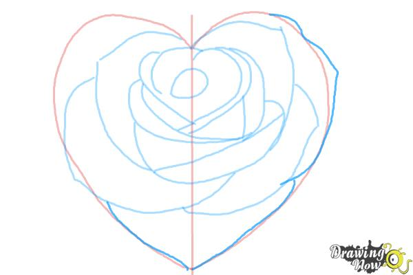 How to Draw a Heart Rose - Step 8