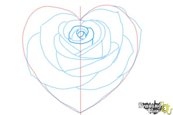 How to Draw a Heart Rose - Step 9