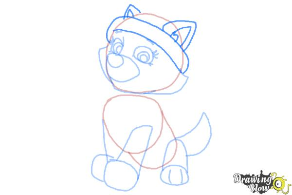 How to Draw Everest from Paw Patrol - Step 6