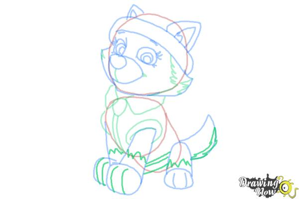 How to Draw Everest from Paw Patrol - Step 8