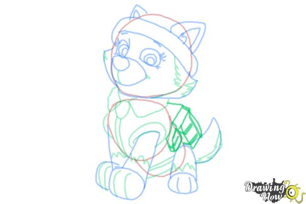 How to Draw Everest from Paw Patrol - Step 9