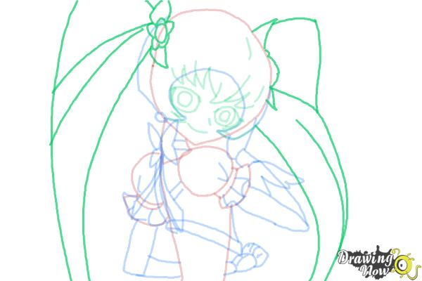 How to Draw Cure Sunshine, Myoudouin Itsuki from Pretty Cure - Step 11