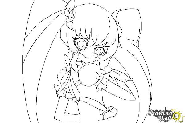 How to Draw Cure Sunshine, Myoudouin Itsuki from Pretty Cure - Step 12
