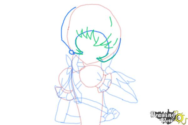 How to Draw Cure Sunshine, Myoudouin Itsuki from Pretty Cure - Step 9