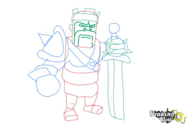 How to Draw Clash of Clans Barbarian King - Step 10
