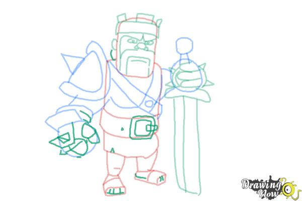 How to Draw Clash of Clans Barbarian King - Step 11