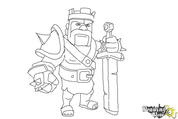 How to Draw Clash of Clans Barbarian King - Step 12