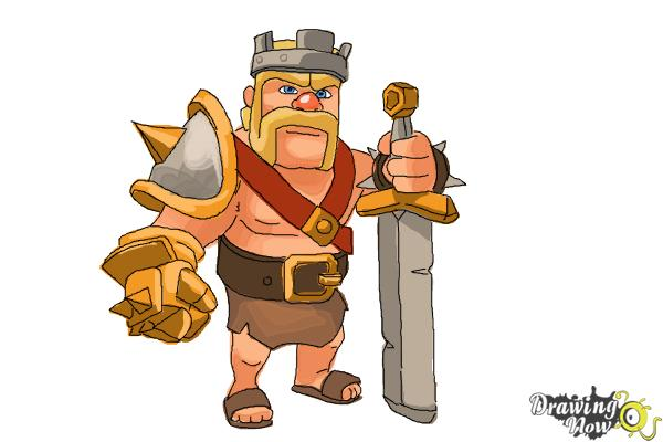 How to Draw Clash of Clans Barbarian King - Step 13