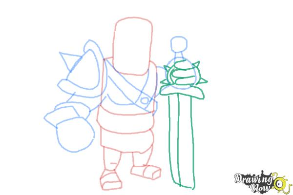 How to Draw Clash of Clans Barbarian King - Step 8