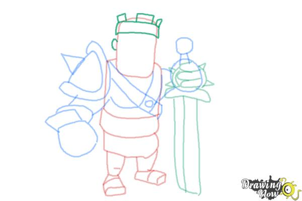 How to Draw Clash of Clans Barbarian King - Step 9