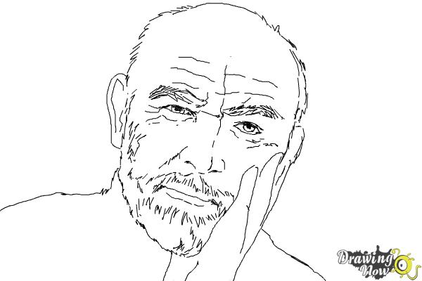 How to Draw Sean Connery - Step 7