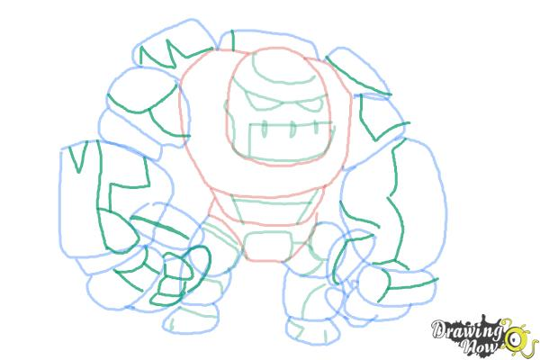How to Draw Clash of Clans Golem - Step 10