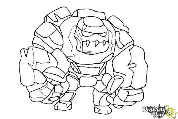 How to Draw Clash of Clans Golem - Step 11