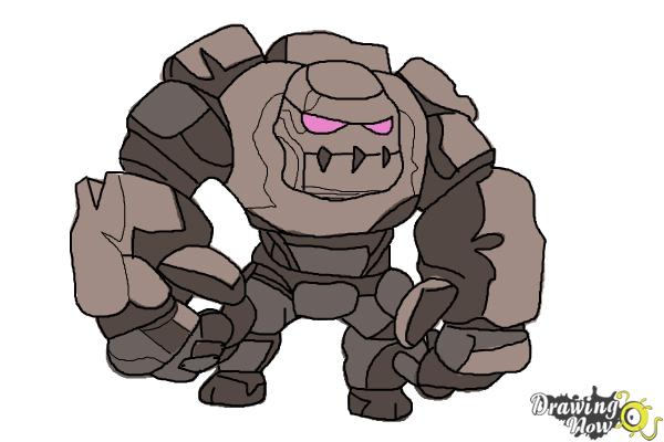 How to Draw Clash of Clans Golem - Step 12