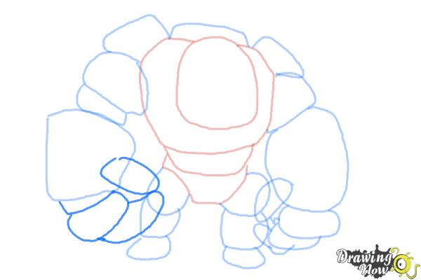 How to Draw Clash of Clans Golem - Step 7