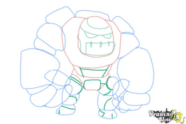 How to Draw Clash of Clans Golem - Step 9
