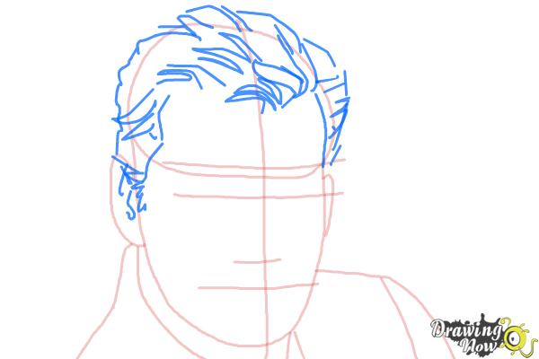 How to Draw Pierce Brosnan - Step 4