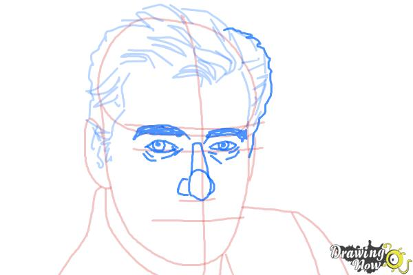 How to Draw Pierce Brosnan - Step 5