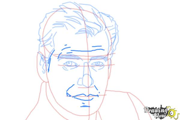 How to Draw Pierce Brosnan - Step 6
