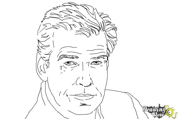 How to Draw Pierce Brosnan - Step 7
