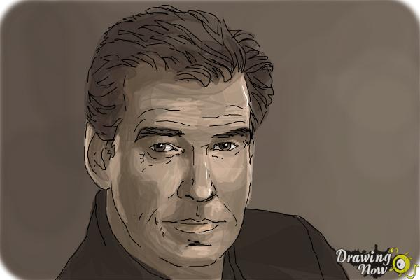 How to Draw Pierce Brosnan - Step 8
