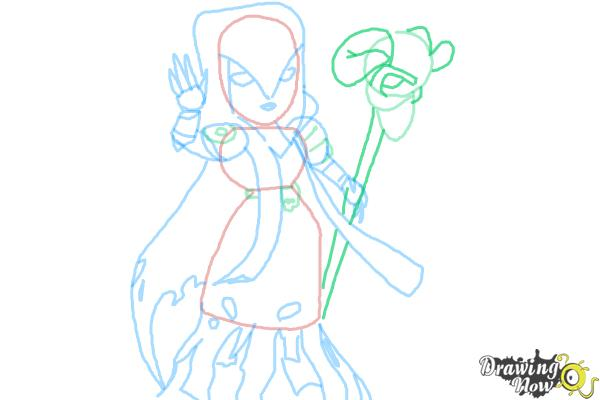 How to Draw Clash of Clans Witch - Step 8