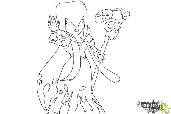 How to Draw Clash of Clans Witch - Step 9