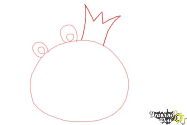 How to Draw Angry Birds Pig, King Pig - Step 3
