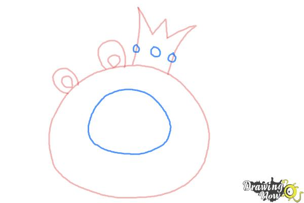 How to Draw Angry Birds Pig, King Pig - Step 4