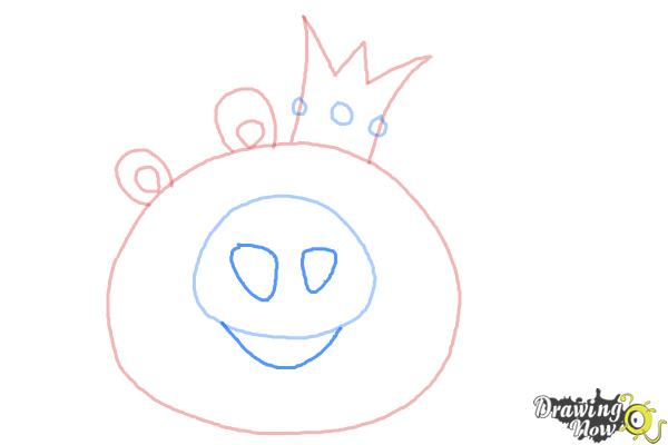 How to Draw Angry Birds Pig, King Pig - Step 5